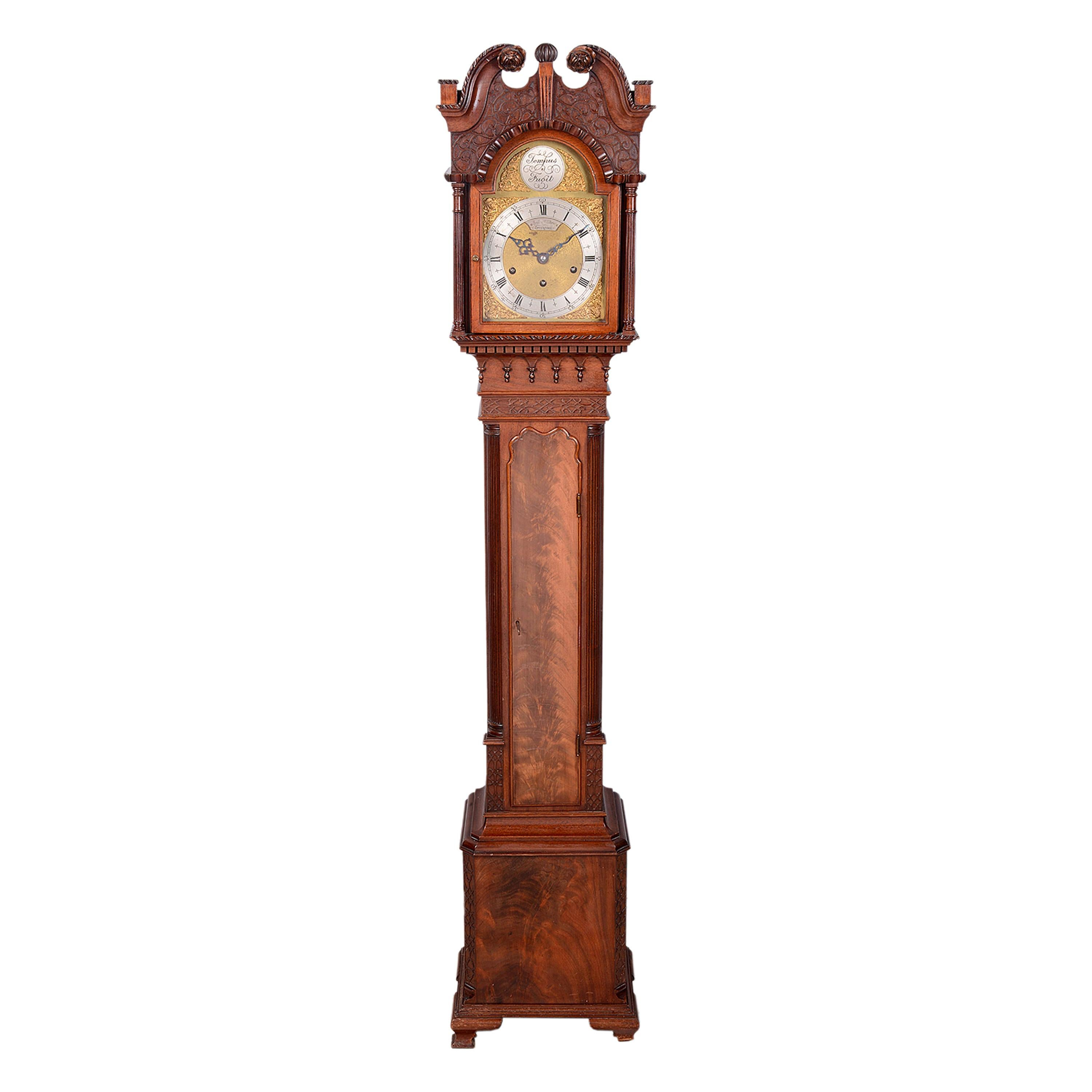 Mahogany Chippendale Style Grandmother Clock