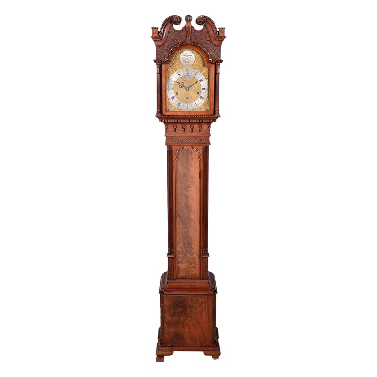 Mahogany Chippendale Style Grandmother Clock For Sale