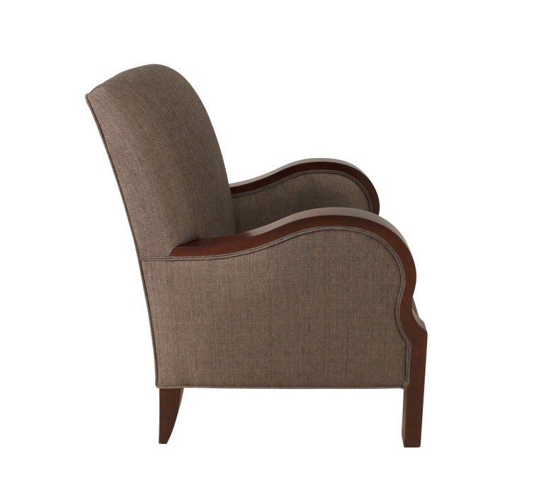 Modernist club char in mahogany veneer with satin lacquer finish blends Art Deco and Neoclassical influences with contemporary aesthetic of private and social spaces.  Modernist series connects past to the present by mixing traditional techniques
