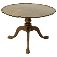 Mahogany Coffee, Pie Crust Tripod Table with Tilt-Top Action
