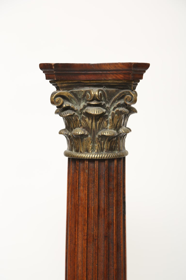 Neoclassical Revival Mahogany Column with Corinthian Capital For Sale