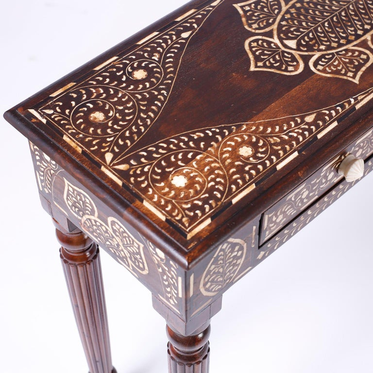 Indian Mahogany Console Table with Bone Inlay