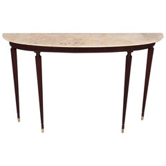 Mahogany Console with Demilune Onyx Top Ascribable to Paolo Buffa, Italy, 1950s