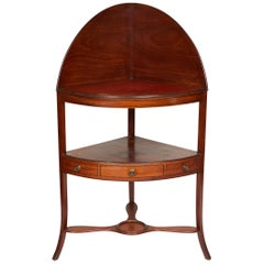 Mahogany Corner Wash Stand with Red Leather Top