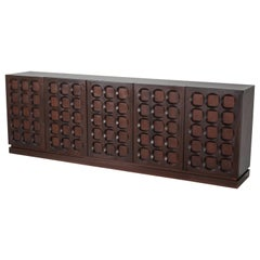 Mahogany Credenza with Geometrical Patterned Doors