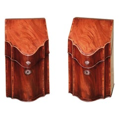 Mahogany Cutlery Boxes, Late 18th Century George III with Original Interiors