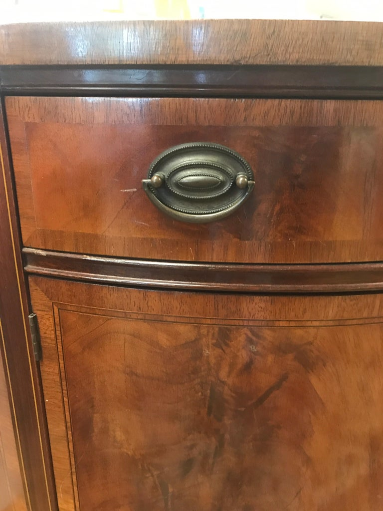 Mahogany Demilune Bar Liquor Cabinet Sideboard Commode Johnson Furniture Company at 1stdibs