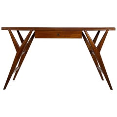 Mahogany Desk or Console Table with a Drawer and a Glass Top, circa 1950