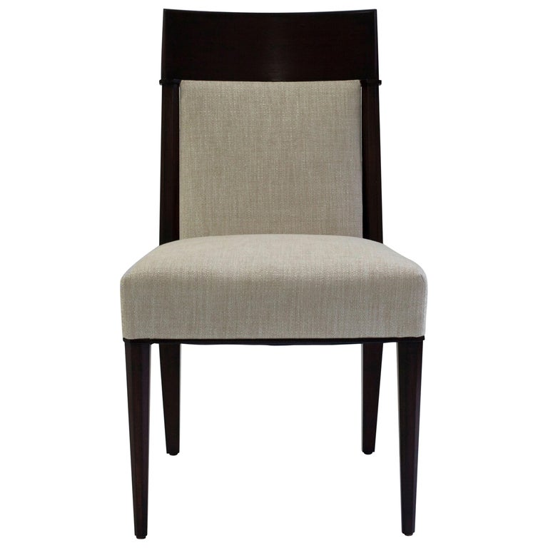 Mahogany Dining Sidechair with Carved Upholstered Back and Seat and Tapered Legs 1