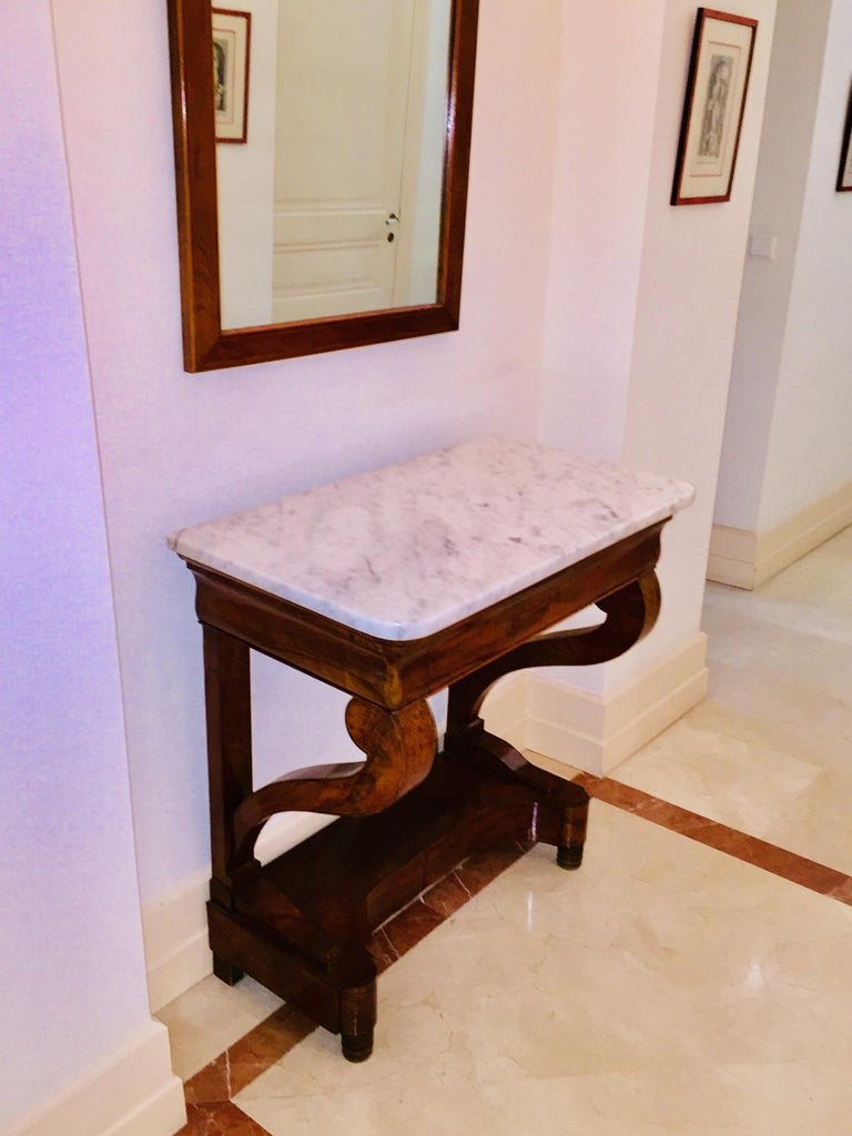 Mahogany Directoire Restauration French Marble-Top Console Table For Sale 3