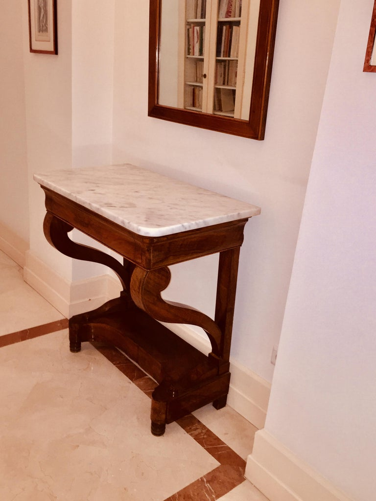 Mahogany Directoire Restauration French Marble-Top Console Table For Sale 5