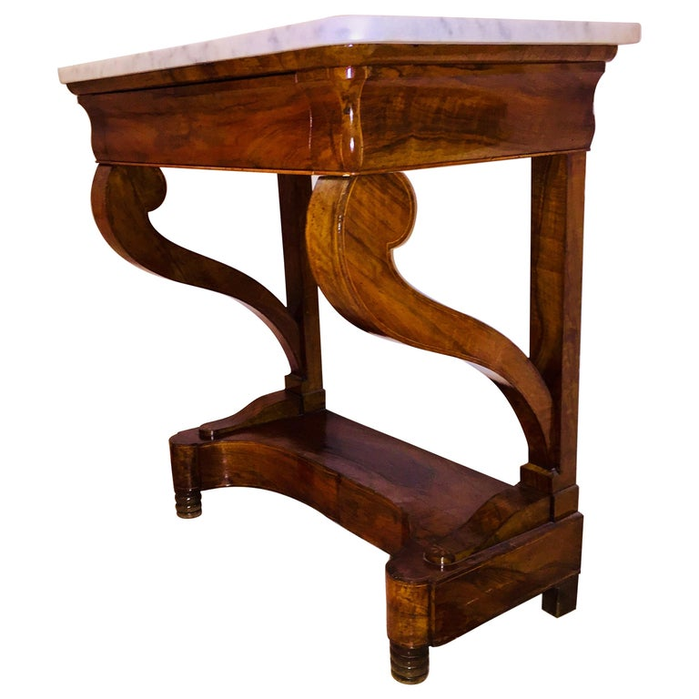 Mahogany Directoire Restauration French Marble-Top Console Table For Sale