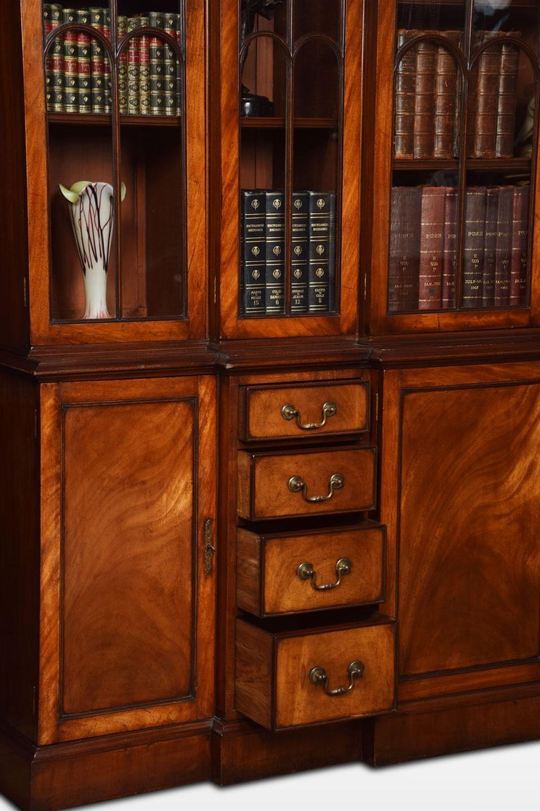 Mahogany Double Breakfront Bookcase For Sale 5