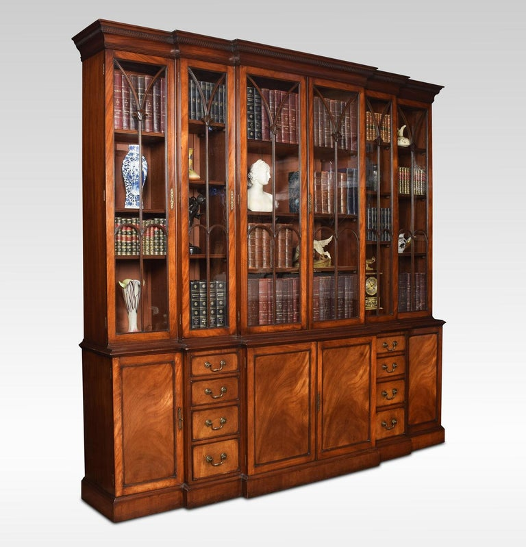 British Mahogany Double Breakfront Bookcase For Sale