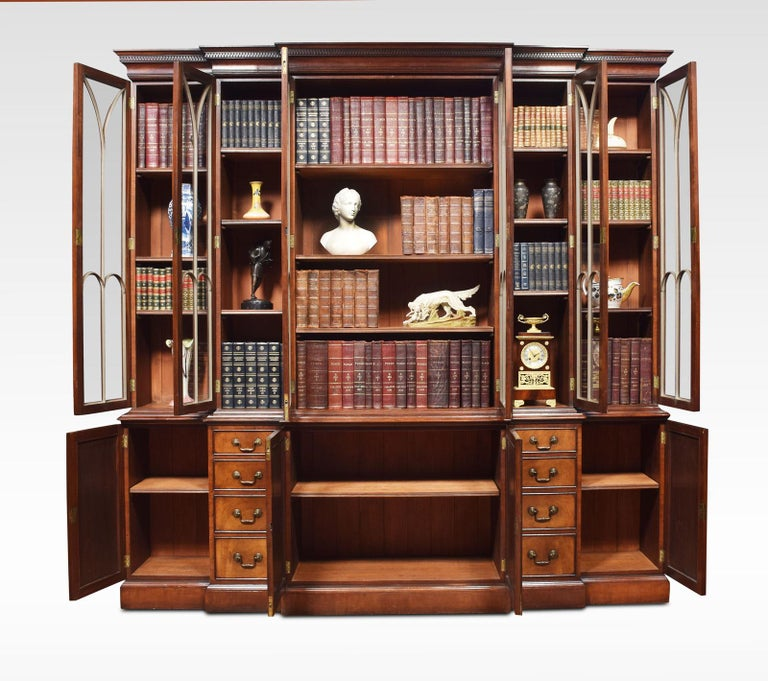 20th Century Mahogany Double Breakfront Bookcase For Sale