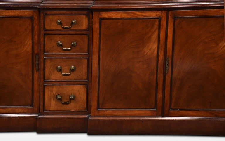 Mahogany Double Breakfront Bookcase For Sale 2