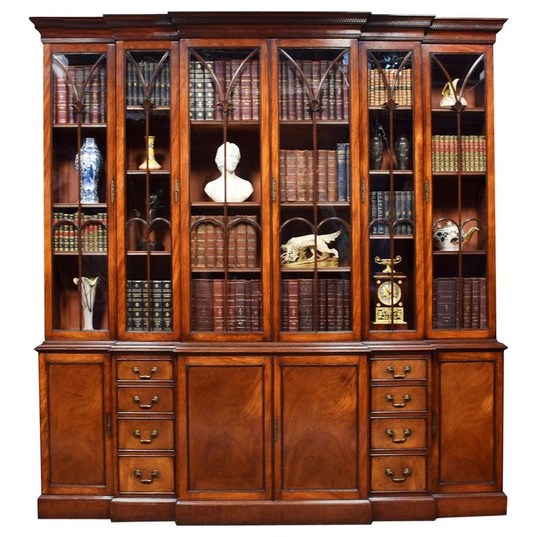 Mahogany Double Breakfront Bookcase For Sale