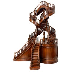 Mahogany Double Staircase Architectural Model, Late 20th Century, English