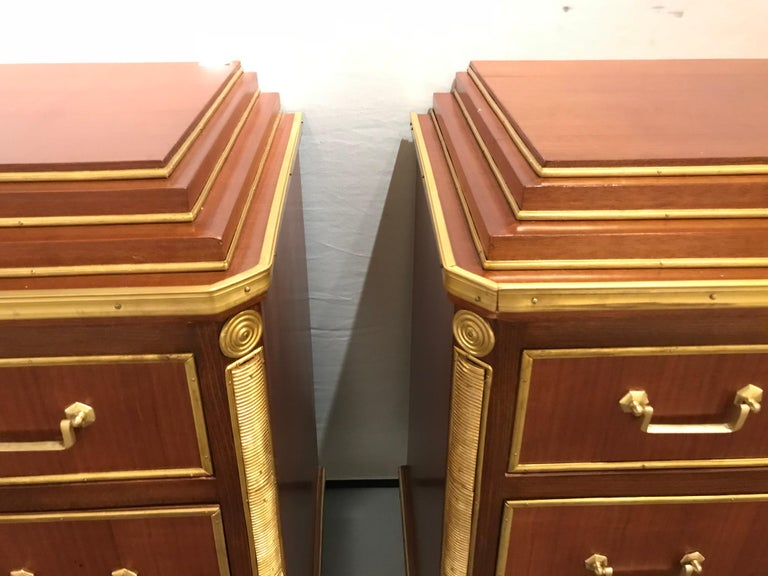 Mahogany Double Step Up Russian Neoclassical Style Commodes / Nightstands, Pair For Sale 2