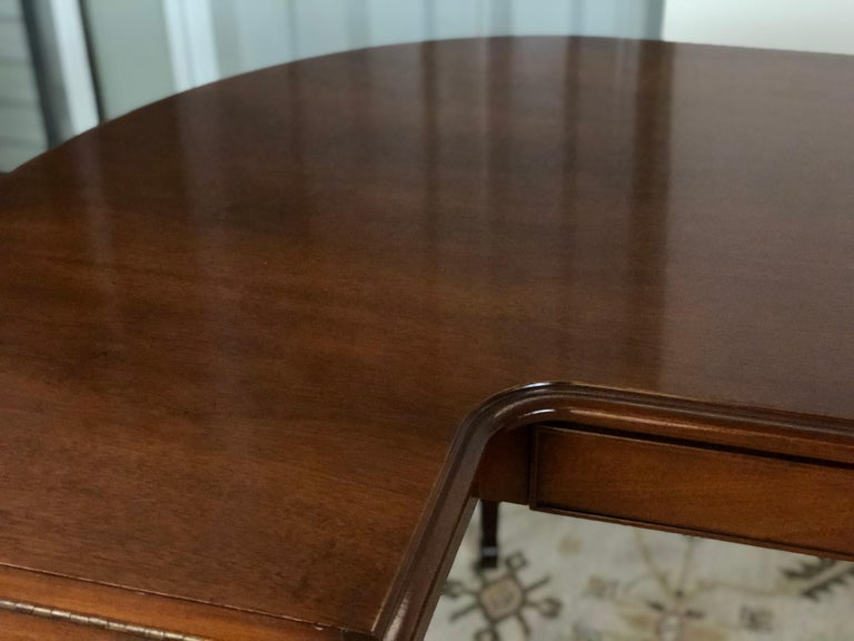 Mahogany Drop Leaf Demilune Desk For Sale 4