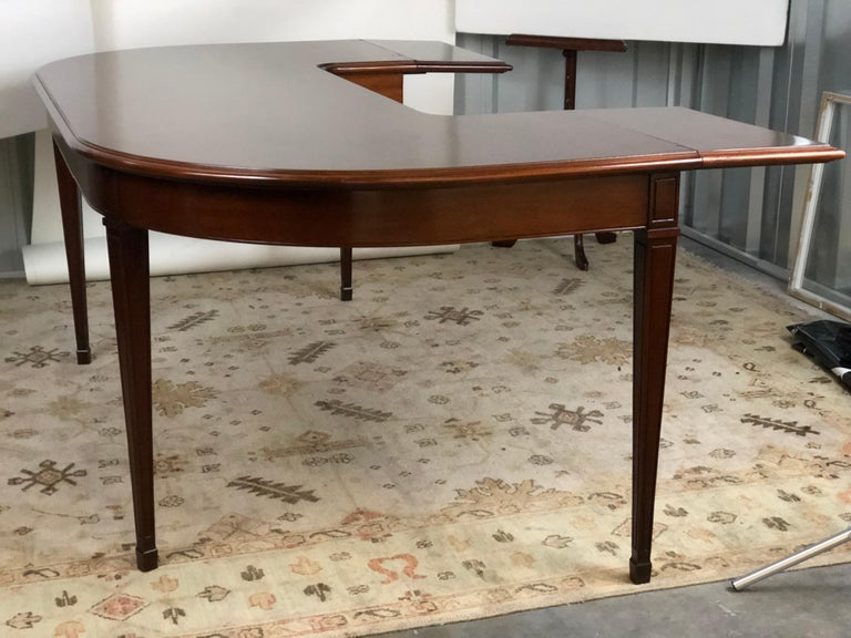 American Classical Mahogany Drop Leaf Demilune Desk For Sale