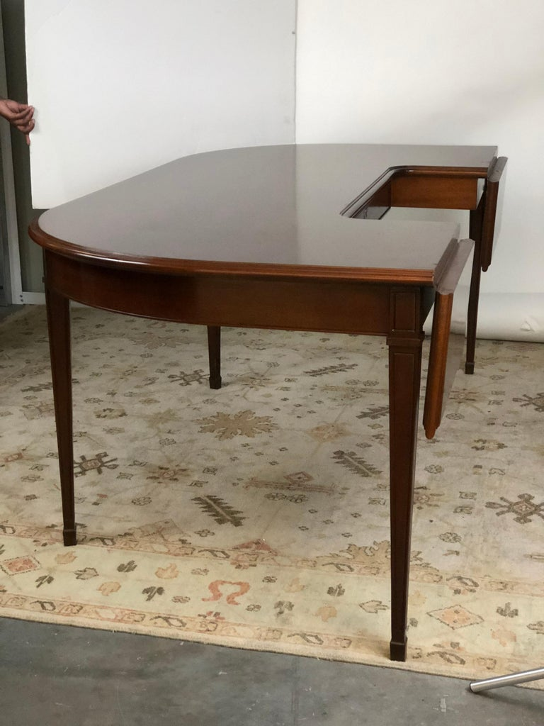 American Mahogany Drop Leaf Demilune Desk For Sale