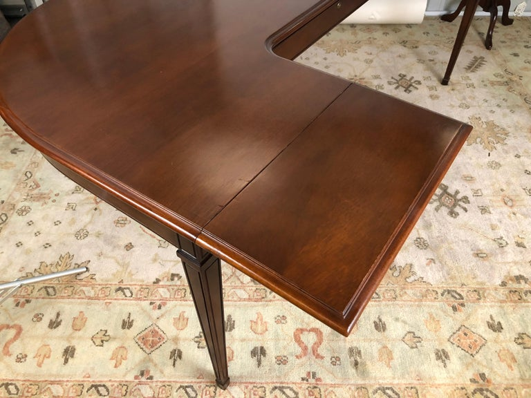 Brass Mahogany Drop Leaf Demilune Desk For Sale