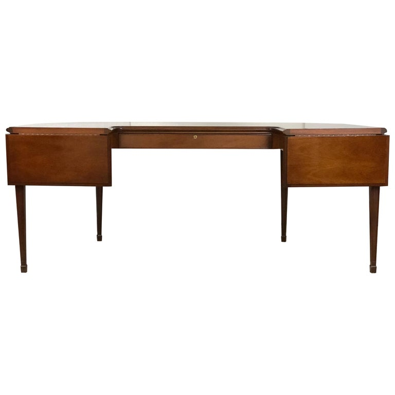 Mahogany Drop Leaf Demilune Desk For Sale