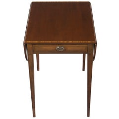 Mahogany Drop Leaf Pembroke End Accent Table with Drawer