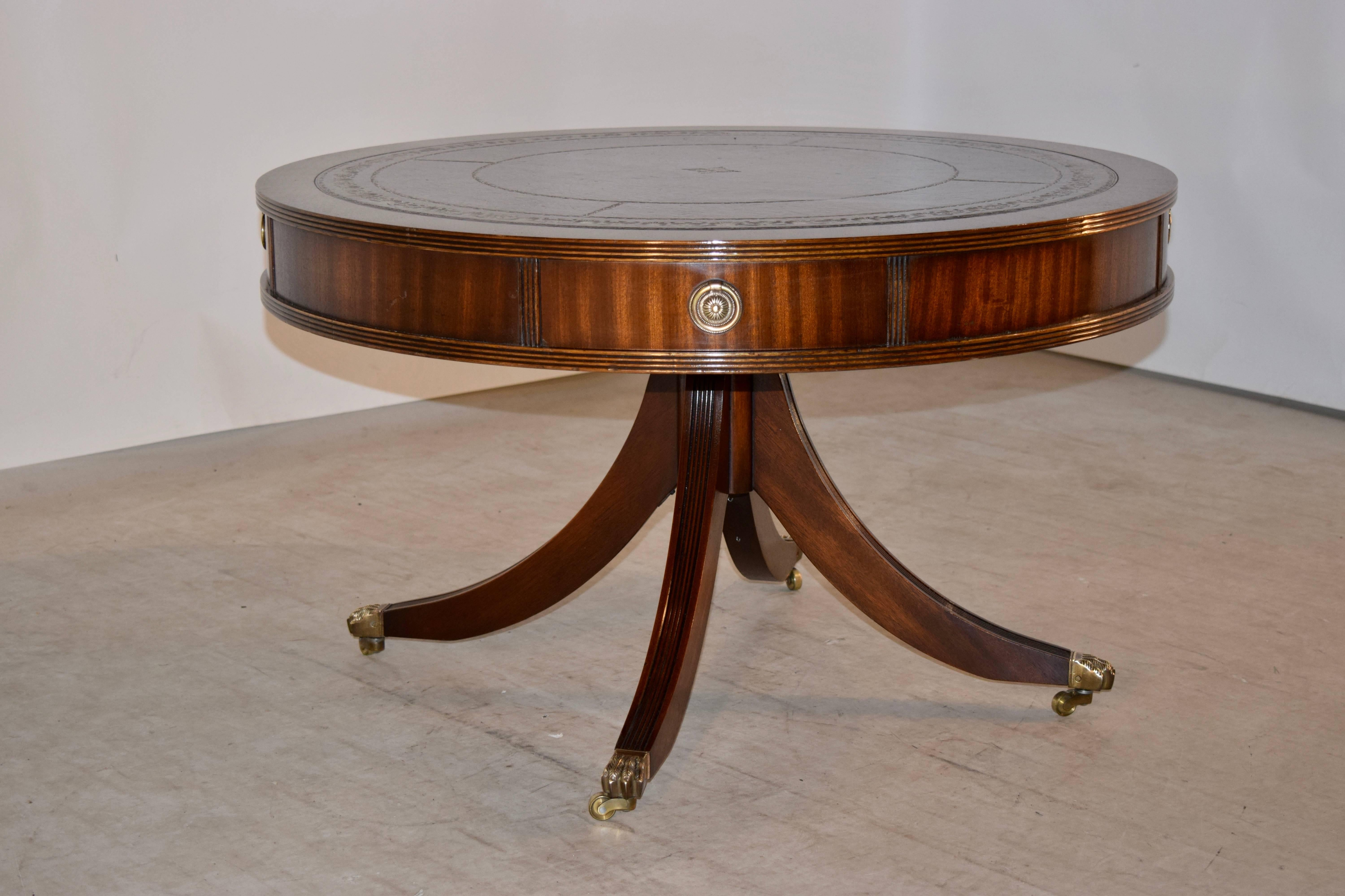 English Mahogany Drum Coffee Table With Leather Top For Sale