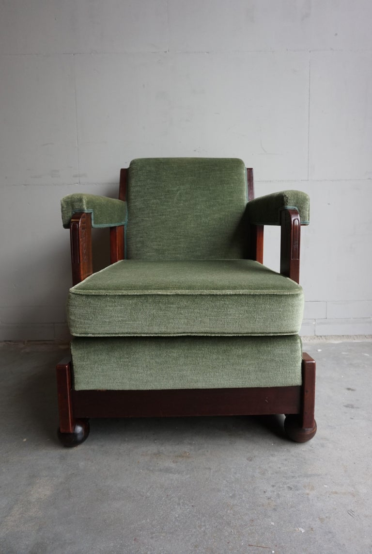 Mahogany Dutch Art Deco Reading / Armchair with Mint Upholstery & Cocobolo Feet For Sale 7