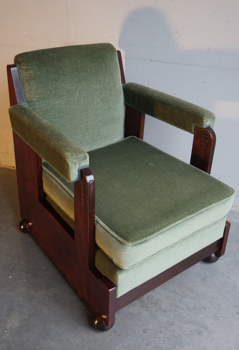 Mahogany Dutch Art Deco Reading / Armchair with Mint Upholstery & Cocobolo Feet For Sale 8