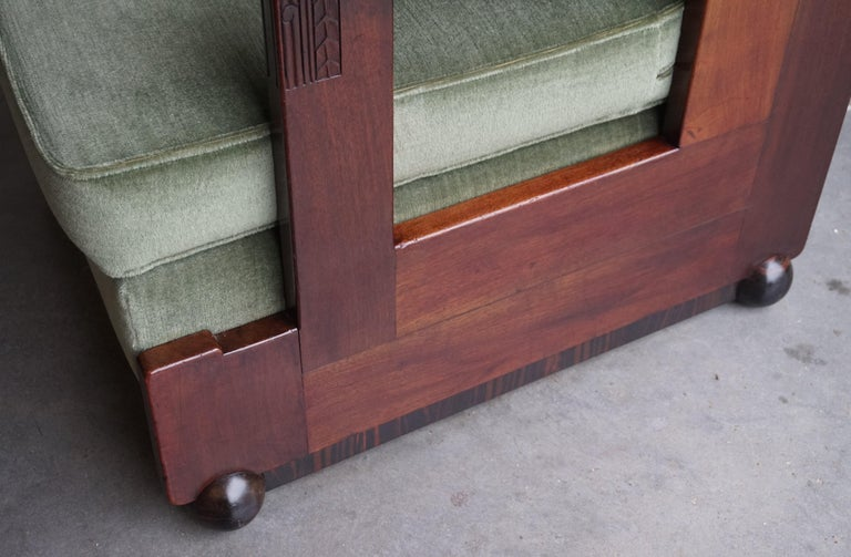 Mahogany Dutch Art Deco Reading / Armchair with Mint Upholstery & Cocobolo Feet For Sale 9