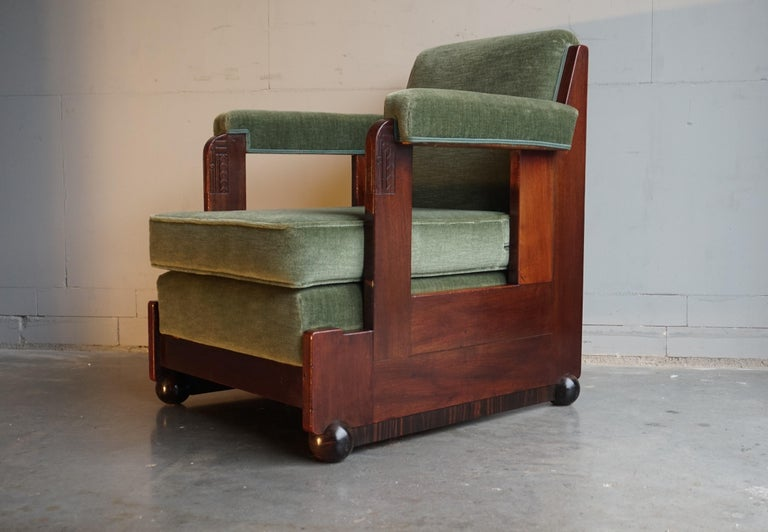 Mahogany Dutch Art Deco Reading / Armchair with Mint Upholstery & Cocobolo Feet For Sale 10