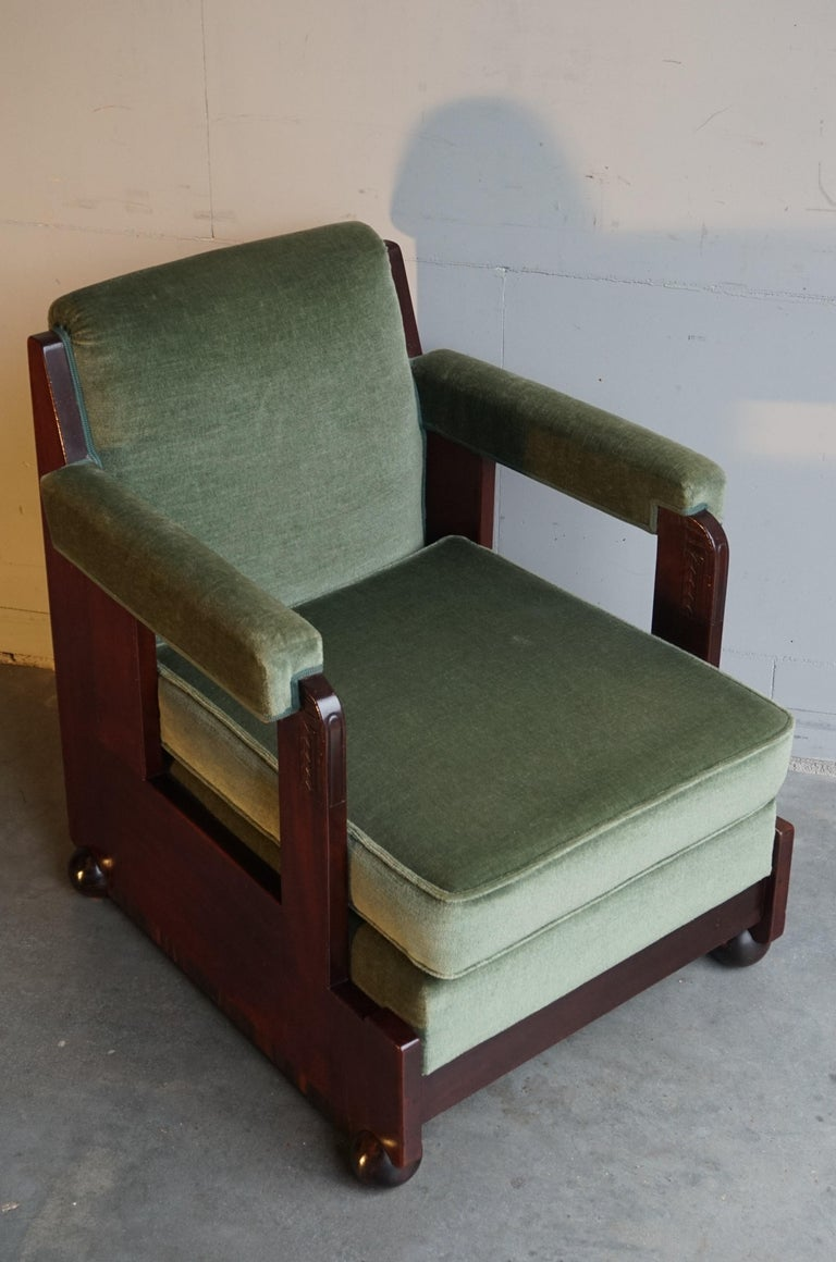 Mahogany Dutch Art Deco Reading / Armchair with Mint Upholstery & Cocobolo Feet For Sale 11