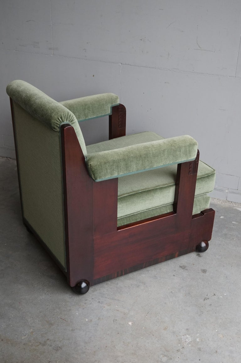 Mahogany Dutch Art Deco Reading / Armchair with Mint Upholstery & Cocobolo Feet For Sale 12