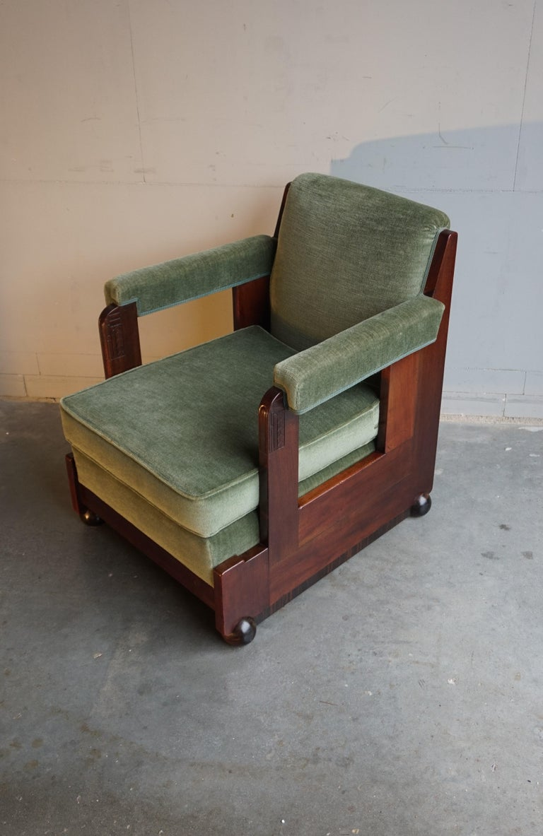 Hand-Carved Mahogany Dutch Art Deco Reading / Armchair with Mint Upholstery & Cocobolo Feet For Sale