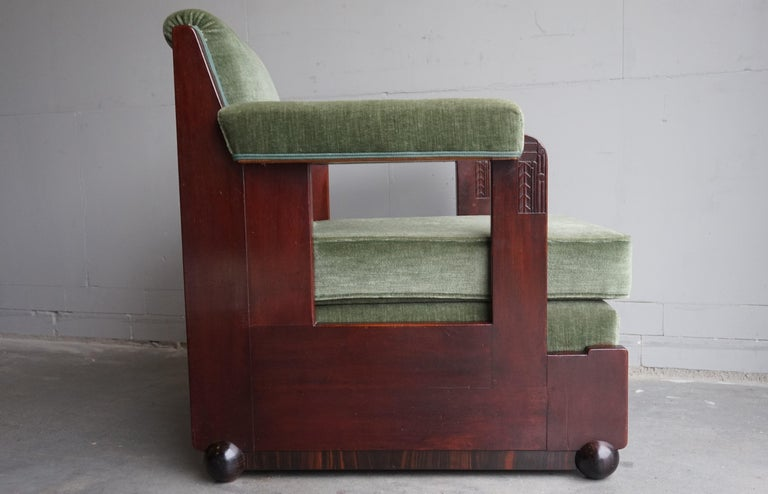 Mahogany Dutch Art Deco Reading / Armchair with Mint Upholstery & Cocobolo Feet In Good Condition For Sale In Lisse, NL