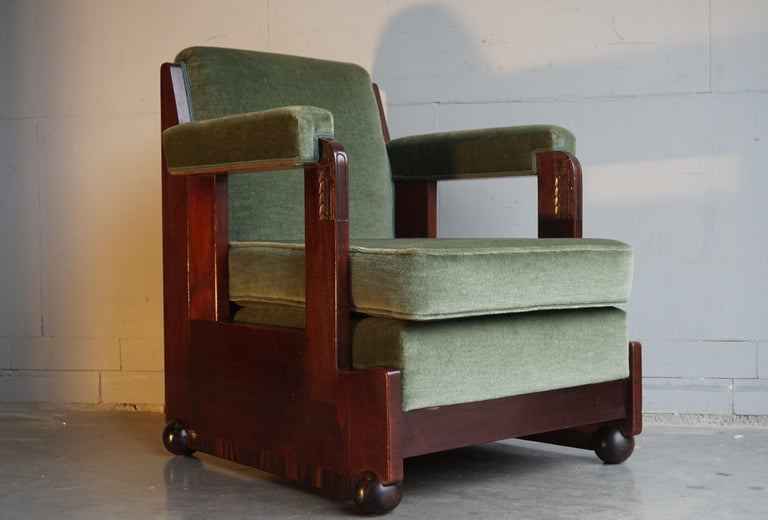 20th Century Mahogany Dutch Art Deco Reading / Armchair with Mint Upholstery & Cocobolo Feet For Sale