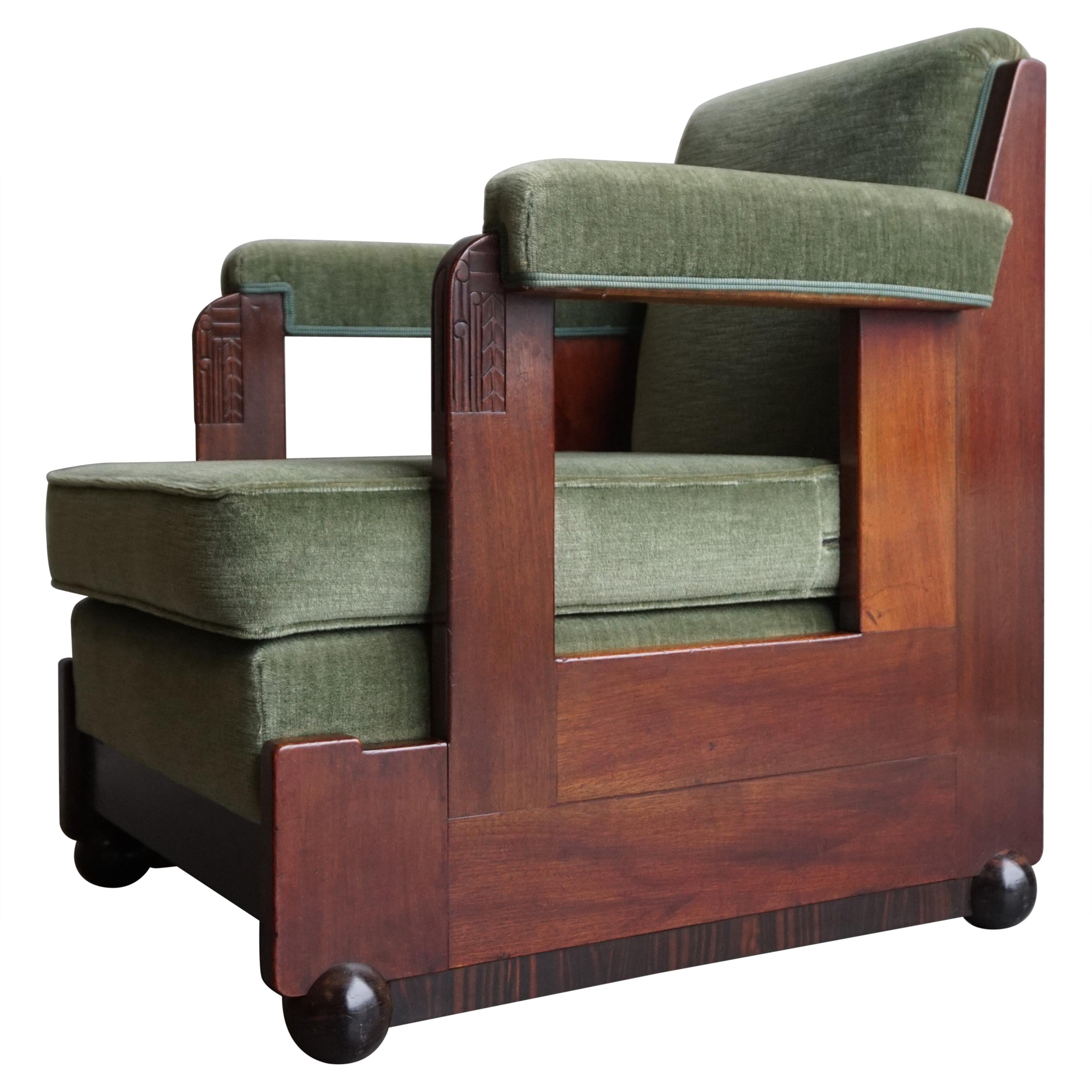 Mahogany Dutch Art Deco Reading / Armchair with Mint Upholstery & Cocobolo Feet