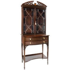 Mahogany Edwardian Mapel and Co, Chippendale Revival Display Cupboard on Stand