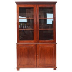 Mahogany Empire Cabinet with Glass Doors from Danish, West Indies