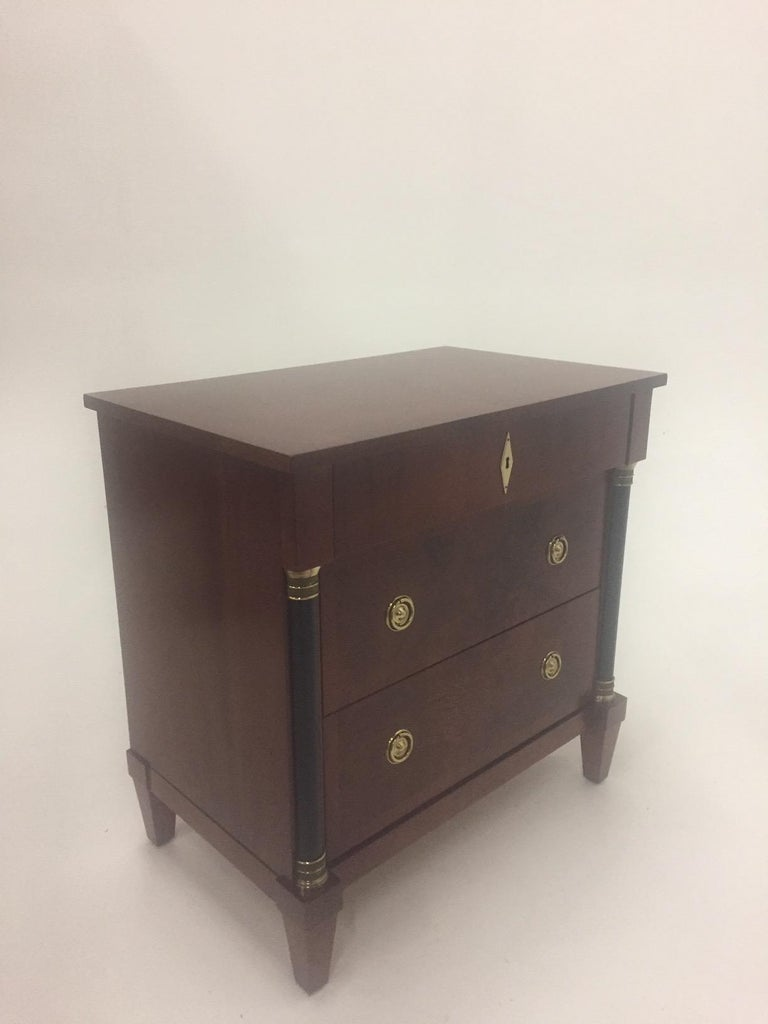 Mahogany Empire Style Small Chest of Drawers Commode For Sale 2