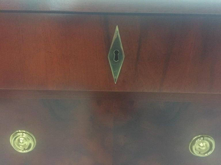 Mahogany Empire Style Small Chest of Drawers Commode For Sale 4