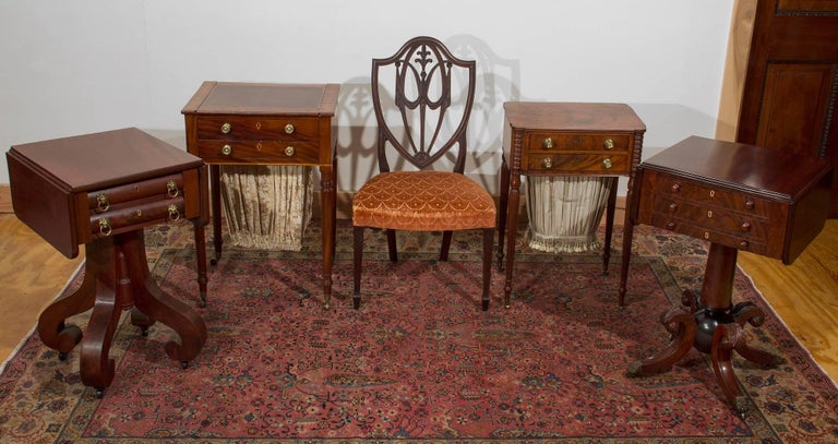 19th Century Mahogany Empire Two-Drawer Worktable with Scroll Feet, NE For Sale