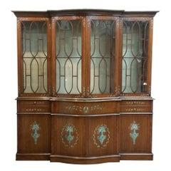 Mahogany English Adams Style Breakfront Cabinet