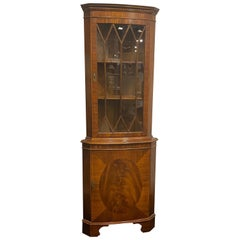 Mahogany English Corner Cabinet by Bevan Funnel, Reprodux, Curved Front Shape