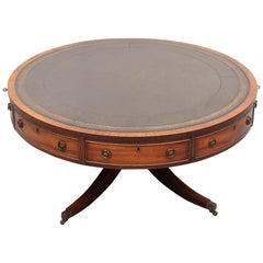 Mahogany English Leather Top Drum Table