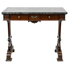 Mahogany English Marble-Top Console Table