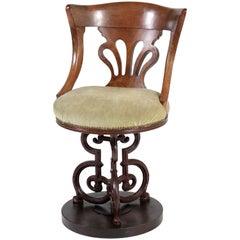 Mahogany English Nautical Captains Swivel Chair with Cast Iron Base, 1880s